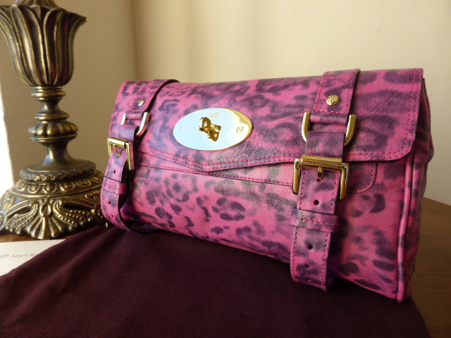 Mulberry Alexa Clutch in Peony Pink Shiny Leopard