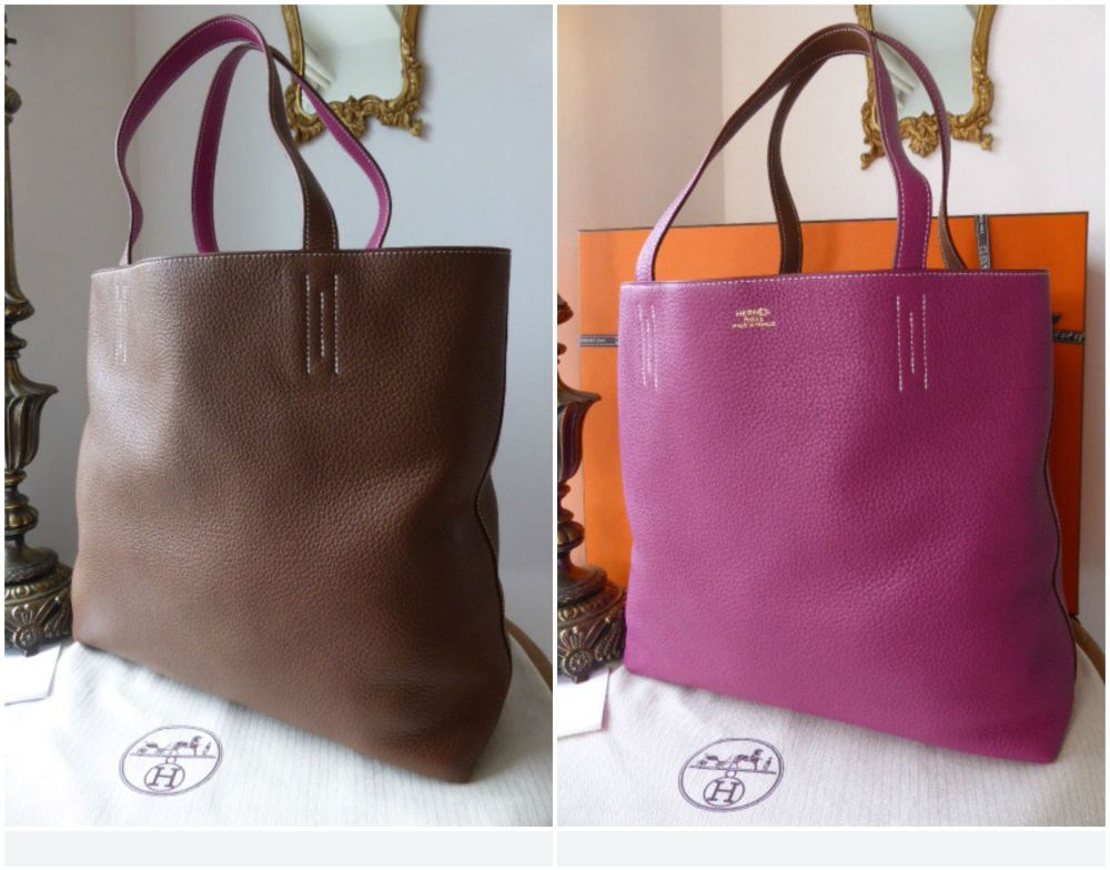 Hermés Double Sens 45 Taurillon Clemence in Tosca Pink and Marron D'Inde -
