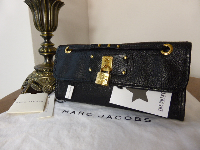 Marc Jacobs 'The Bash' in Black Textured Calfskin with Python Trim - New