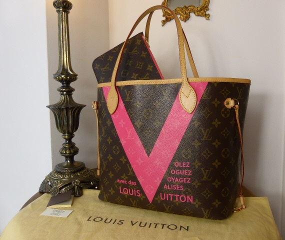 Louis Vuitton Neverfull MM Grenade Pink V Limited Edition