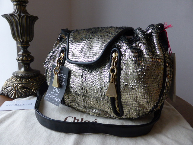 See by Chloe Cherre Feather Metallic Fringe Bag - New