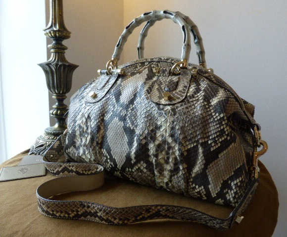 a8900163416a Gucci Bamboo Handle Pop Boston Bauletto in King Python - SOLD