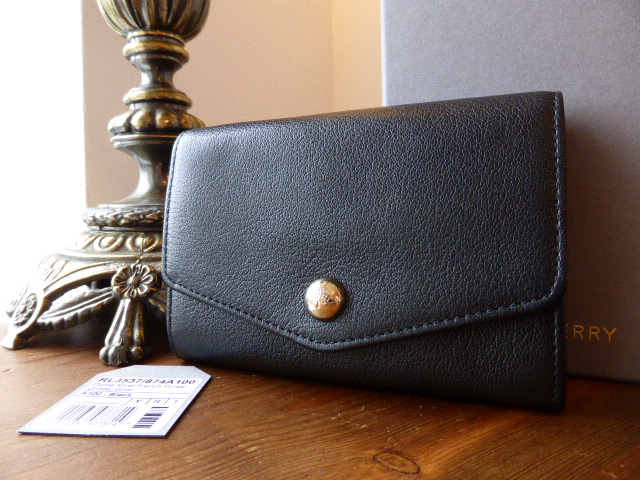 Mulberry Dome Rivet French Purse in Black Glossy Goat Leather