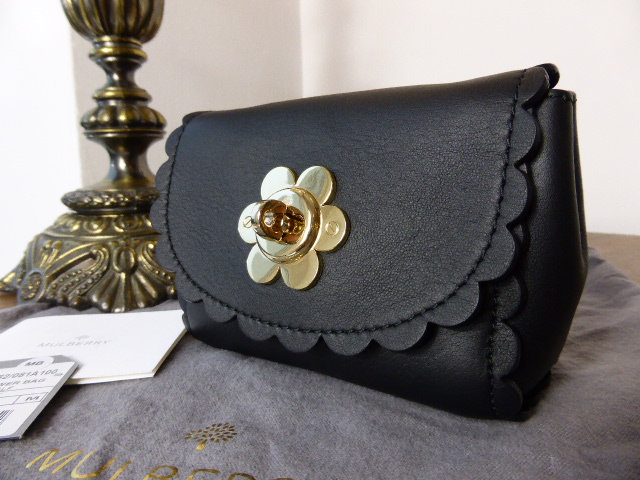 Mulberry Mini Cecily Flower in Black Classic Calf Leather