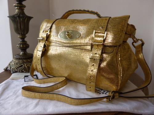 be300269e1ff Mulberry Alexa Regular Metallic Gold Distressed Leather Selfridges Ltd Edit