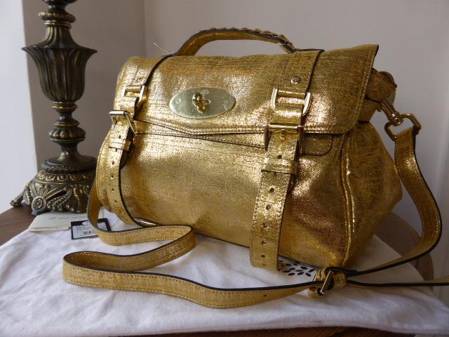 Mulberry Alexa Regular Metallic Gold Distressed Leather Selfridges Ltd Edit