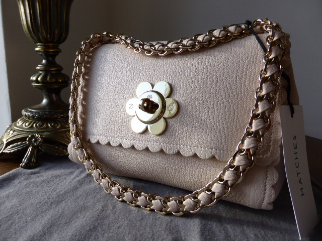 Mulberry Cecily Flower in Light Berry Cream Classic Calf Leather - SOLD