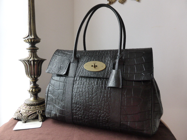 Mulberry Bayswater in Black Vegetable Tanned Printed Leather ref TF