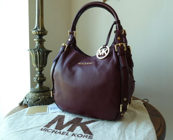 michael kors bedford hobo in bordeaux pebbled leather sold. Black Bedroom Furniture Sets. Home Design Ideas