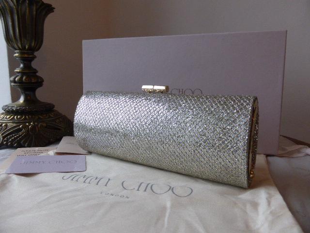 Jimmy Choo Champagne Glitter Marilyn Clutch - New