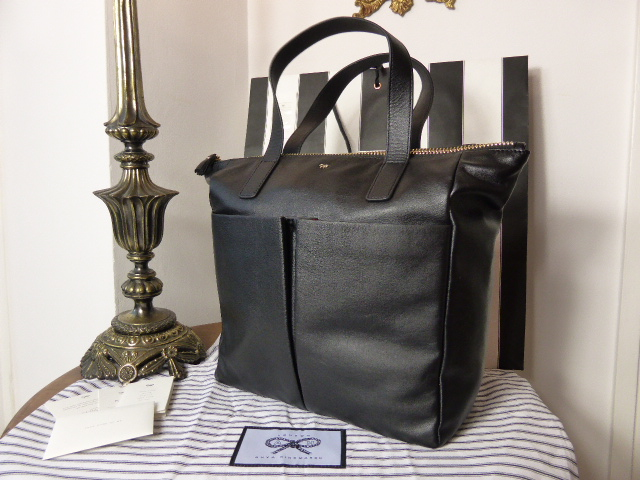 Anya Hindmarch Nevis Zip Top Tote in Black High Shine Leather