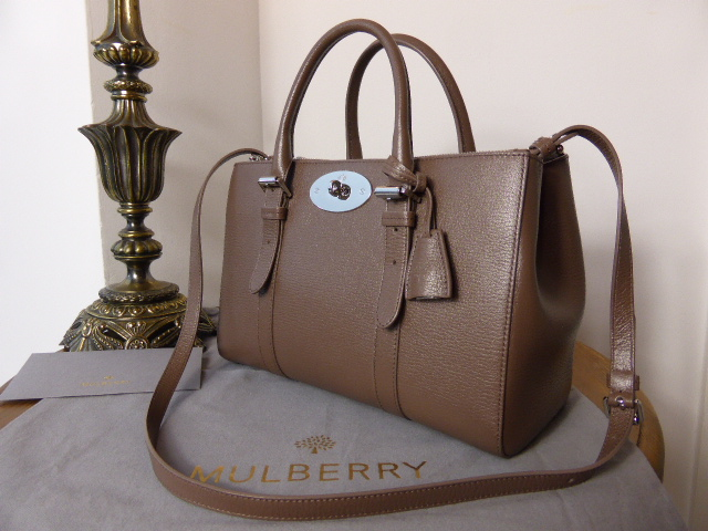 Mulberry Small Bayswater Double Zip Tote in Taupe Glossy Goat Leather - As