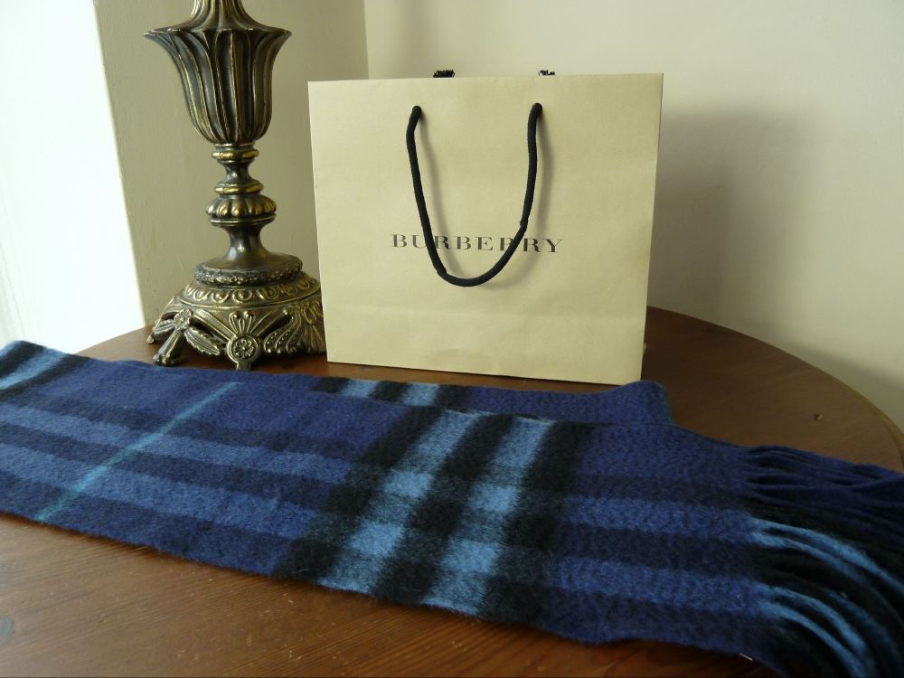 Burberry Exploded Check 100% Cashmere Scarf in Kingfiser Blue - New