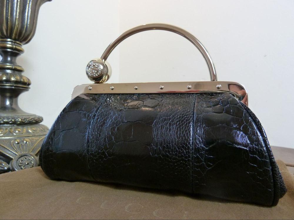 Gucci Alligator & Swarovski Crystal Ball Framed Evening Bag