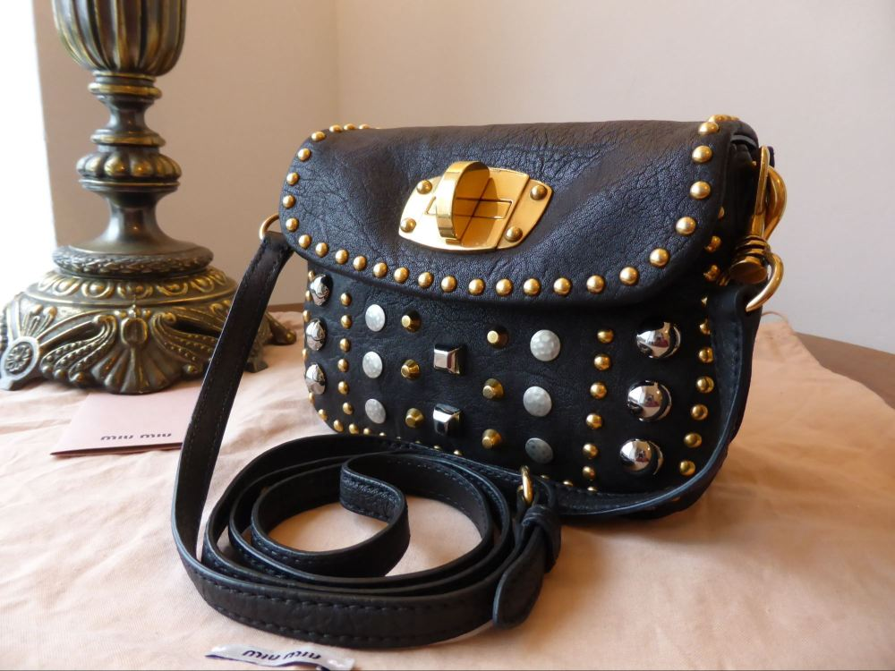 Miu Miu Mini Messenger in Black Multi Studded Leather