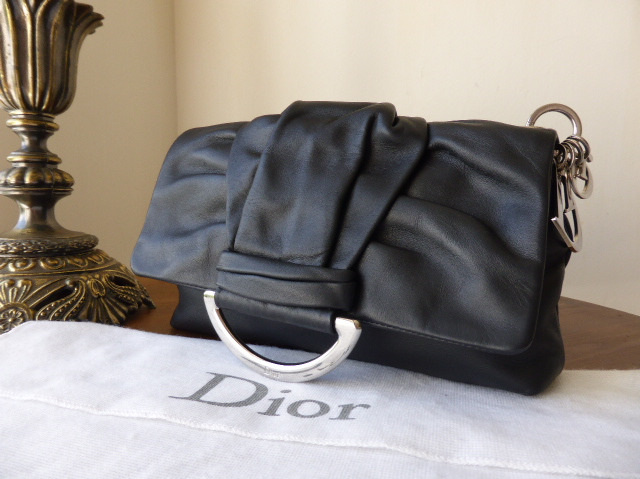 dior demi lune black clutch shw