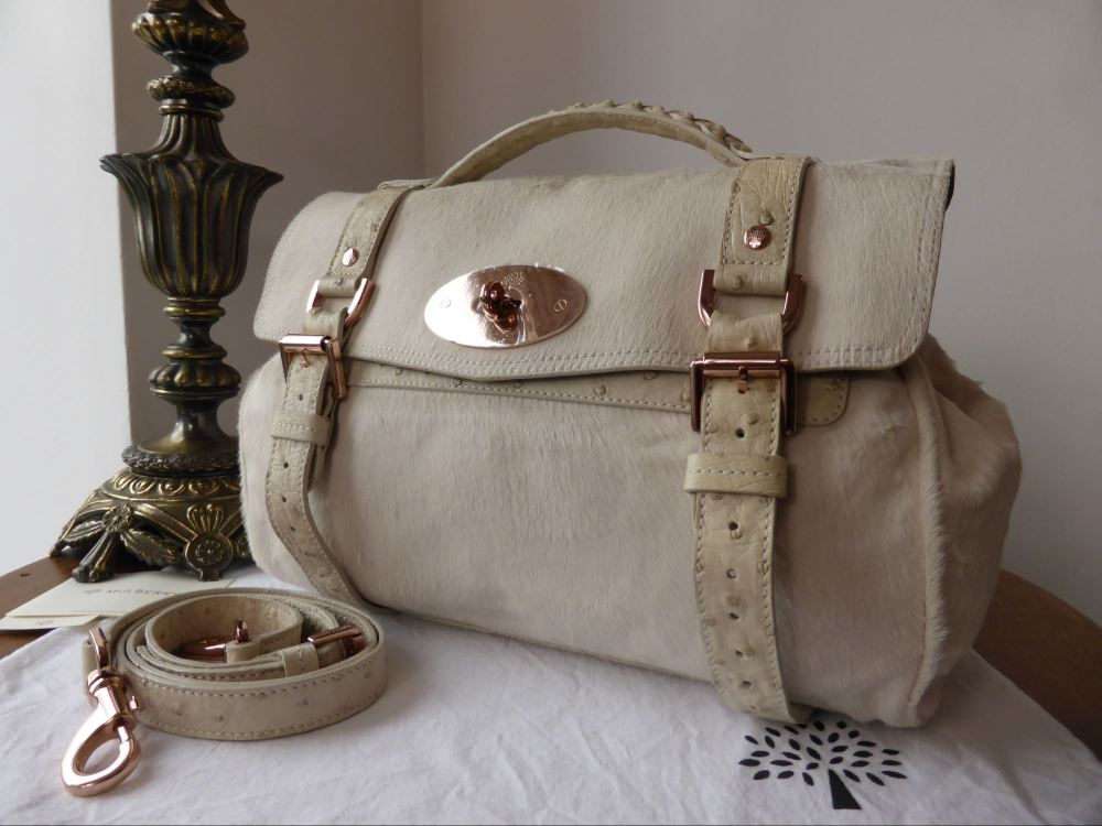 Mulberry Alexa Regular in Petticoat White Haircalf with Ostrich Leather & R