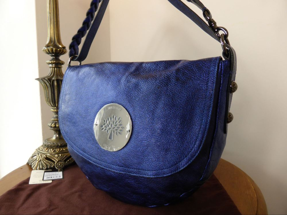 Mulberry Daria Satchel in Antiqued Metallic Blue - New