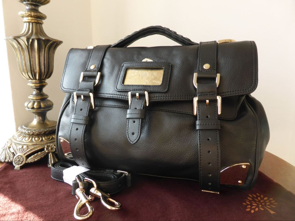 Mulberry Alexa Travel Day Bag in Black Soft Matte Leather - New
