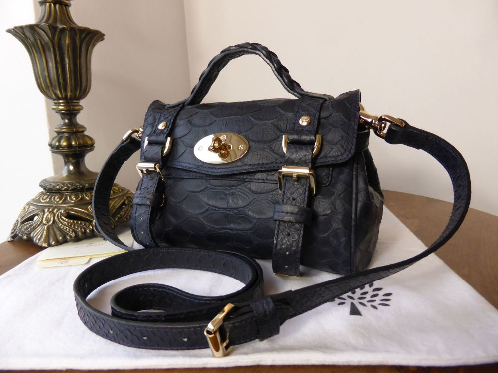 Mulberry Mini Alexa in Nightshade Large Silky Snake Printed Leather