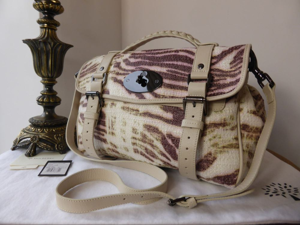 Mulberry Alexa Regular in Trippy Tiger Pink Raffia Print and Beige Leather