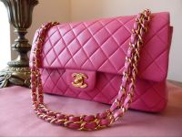 Chanel Timeless Classic 2.55 Medium Flap Bag in Fuschia Pink Lambskin with Gold Hardware