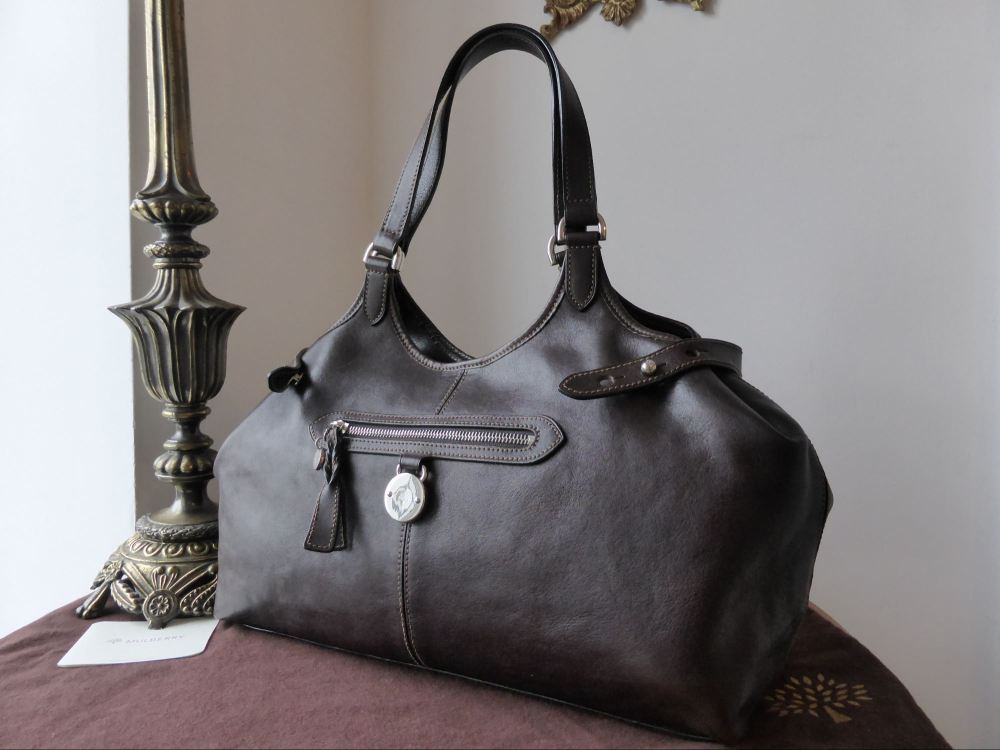 Mulberry Somerset Tote in Chocolate Natural Leather with Silver Tone Hardwa