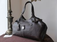 Mulberry Somerset Tote in Chocolate Natural Leather with Silver Tone Hardware.