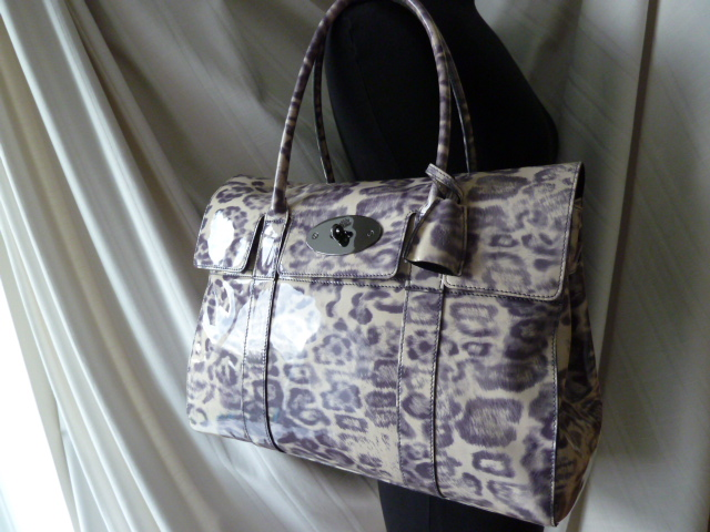 Mulberry Bayswater in Putty Smudged Leopard Print Patent Leather