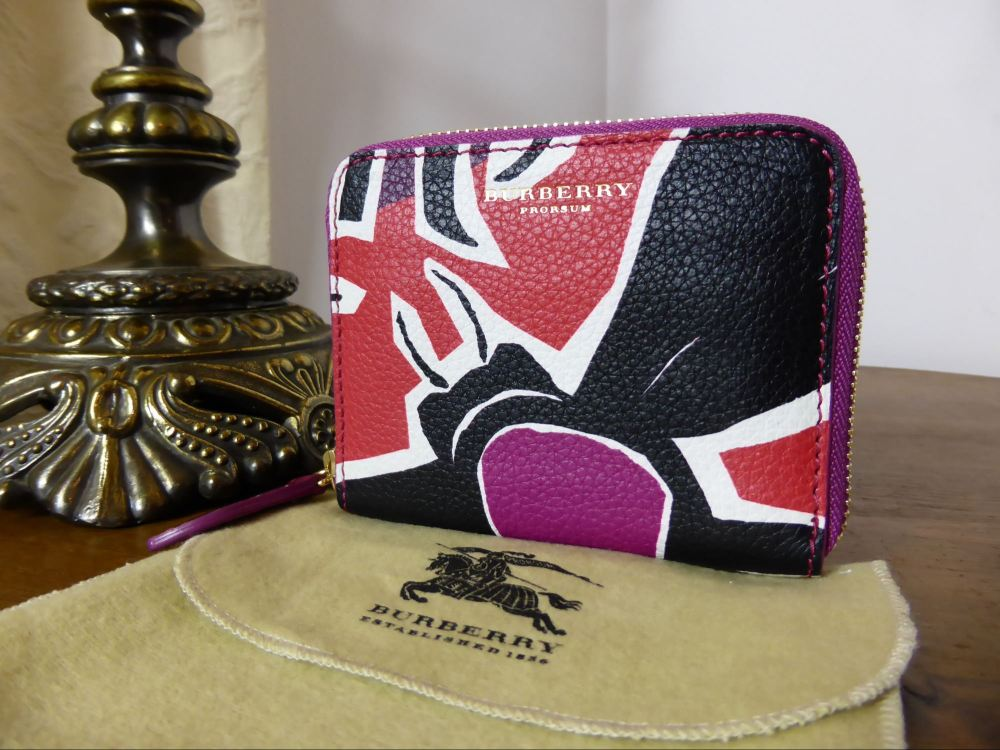 Burberry 'Insects of Great Britain' Small Zip Around Wallet in Berry - New*