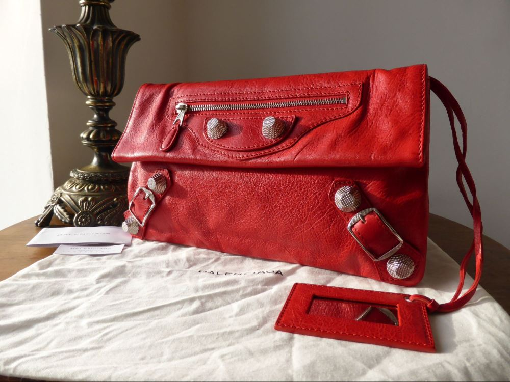 Balenciaga Envelope Clutch in Coqelicot Red with Giant 21 Silver Hardware -