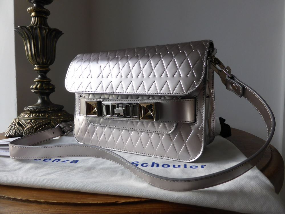 Proenza Schouler PS11 Mini Silver Metallic Embossed