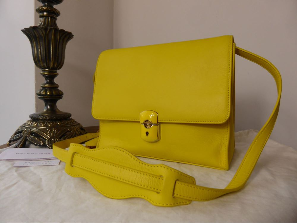 Balenciaga All Day Satchel in Yellow Calfskin Leather