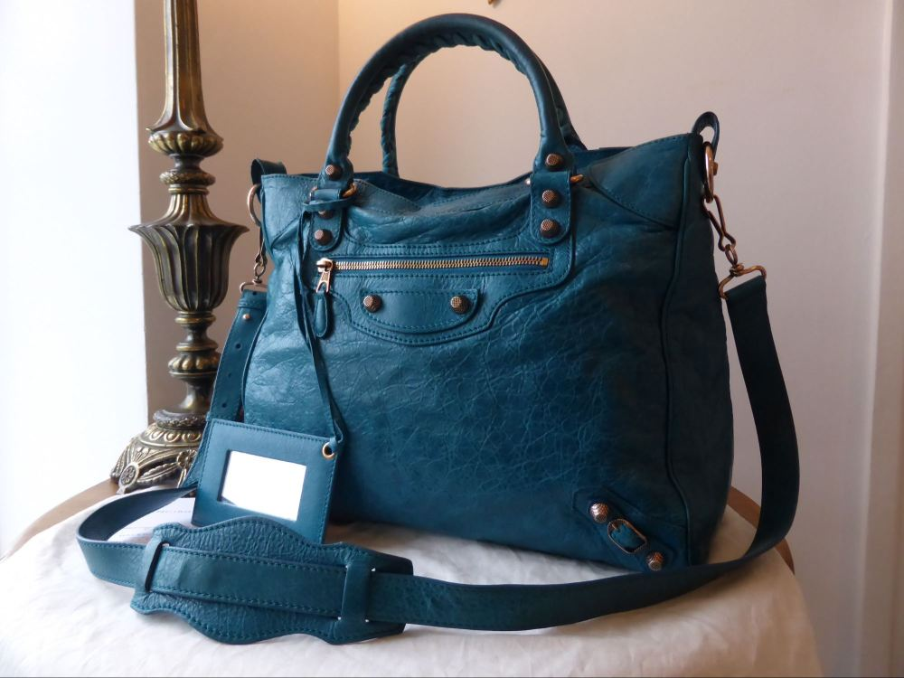 Balenciaga Giant 21 Rose Gold Velo in Teal / Turquoise