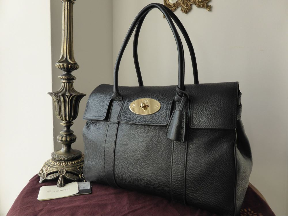Mulberry Bayswater in Black Soft Grain Leather with Shiny Gold Hardware