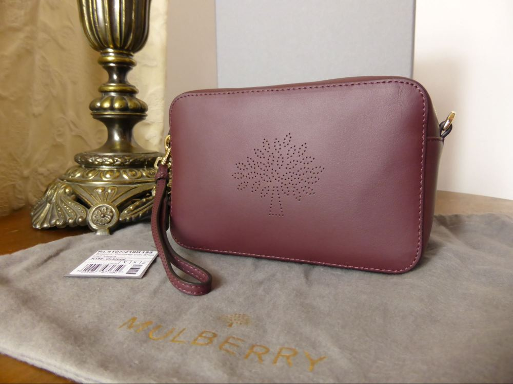 Mulberry Blossom Pochette with Strap in Oxblood Calf Nappa - New