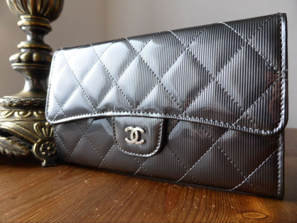 24e73ff76408 Chanel Classic Flap Wallet Purse in Steel Grey Striped Patent Leather ...