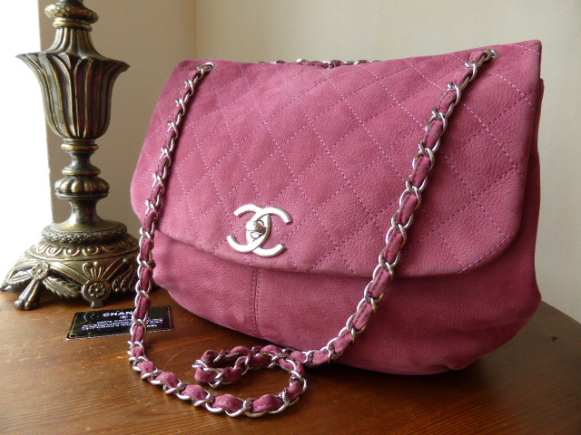 Chanel CC Lock Large Flap Hobo in Rich Rose Pink Suede