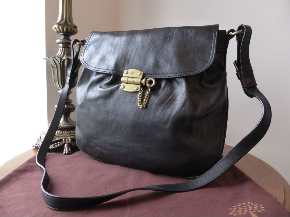 Mulberry Audrina Messenger in Black Creased Leather - As New