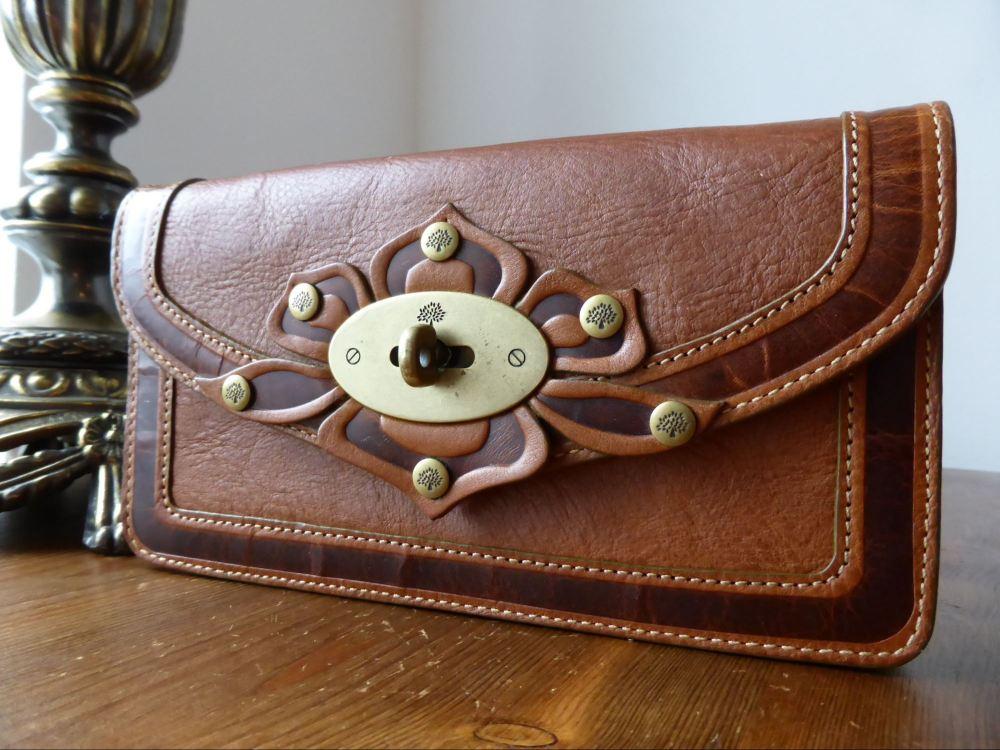 Mulberry Long Locked Purse in Oak Tooled Darwin Leather