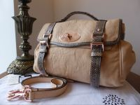 Mulberry Alexa Regular in Nude Plonge Lambskin with Python Trim - New*