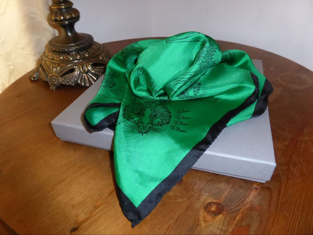 Mulberry Fox Square Printed Silk Twill Scarf in Emerald from the Georgia Ma
