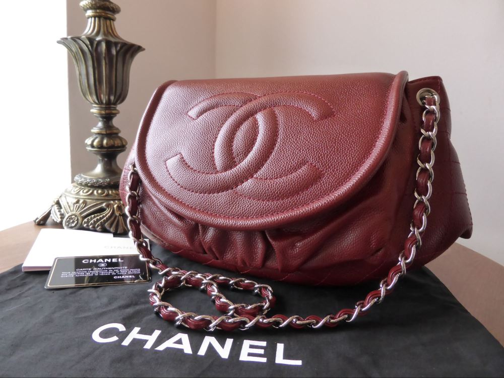 Chanel Half Moon Jumbo XL Timeless Flap in Dark Red Caviar - As New