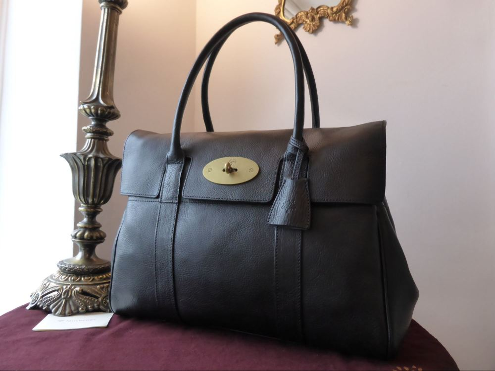 Mulberry Bayswater in Black Natural Leather with Brass Hardware - New