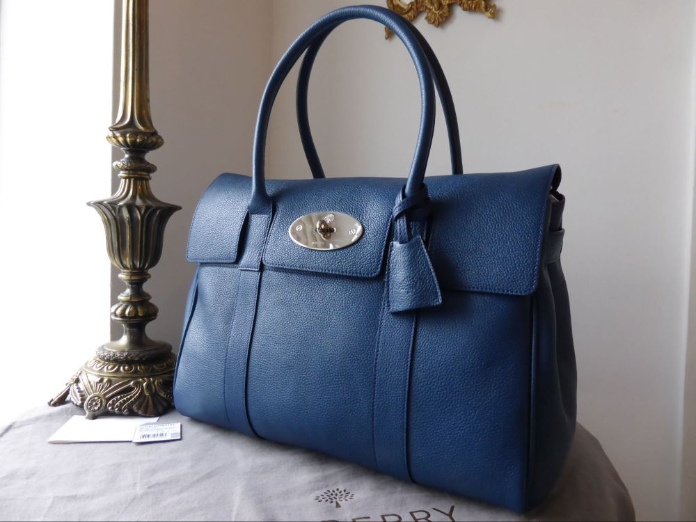 Mulberry Bayswater in Sea Blue Small Classic Grain - New