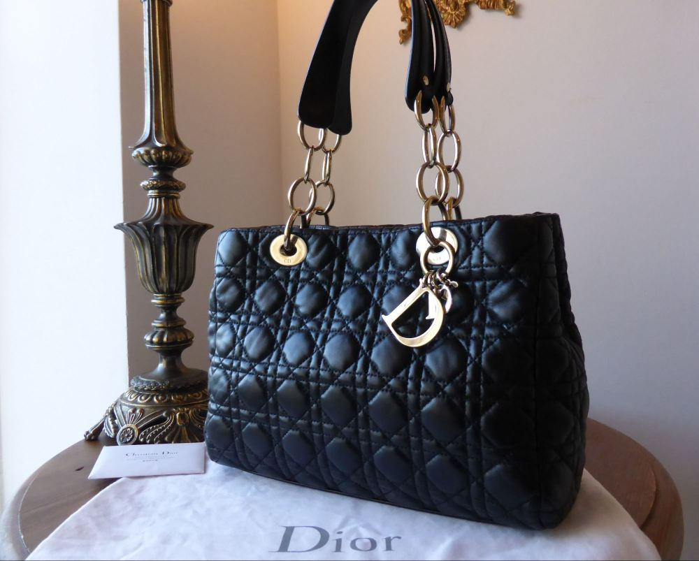 Dior Soft Small Tote in Black Lambskin with Gold Hardware