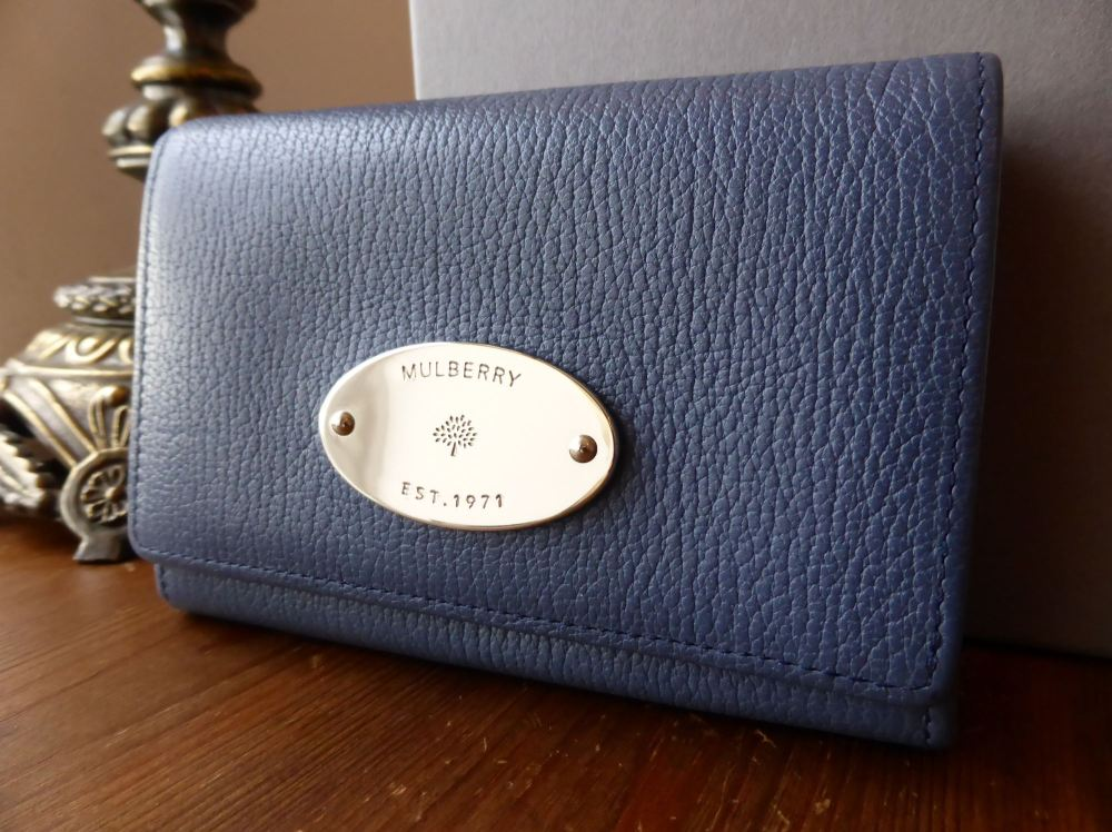 Mulberry French Purse in Slate Blue Grainy Print Leather