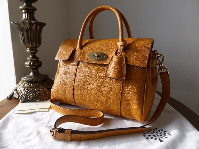 Mulberry Small Bayswater Satchel in Sycamore Grainy Patent