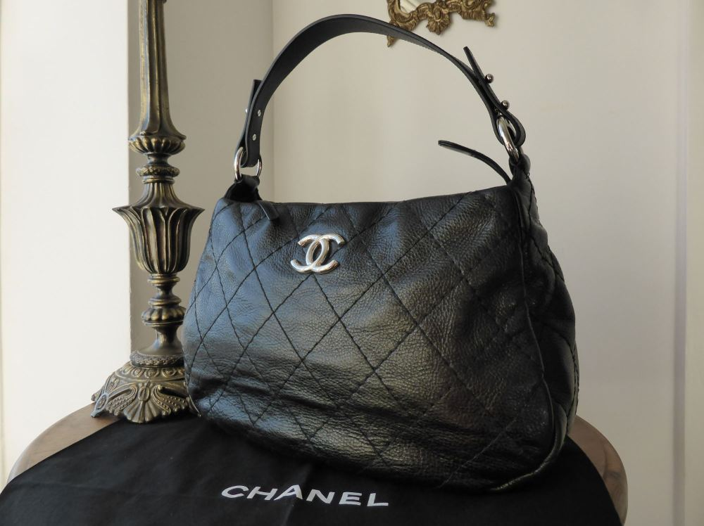 Chanel 'On the Road' Hobo in Black Glazed Calfskin - As New