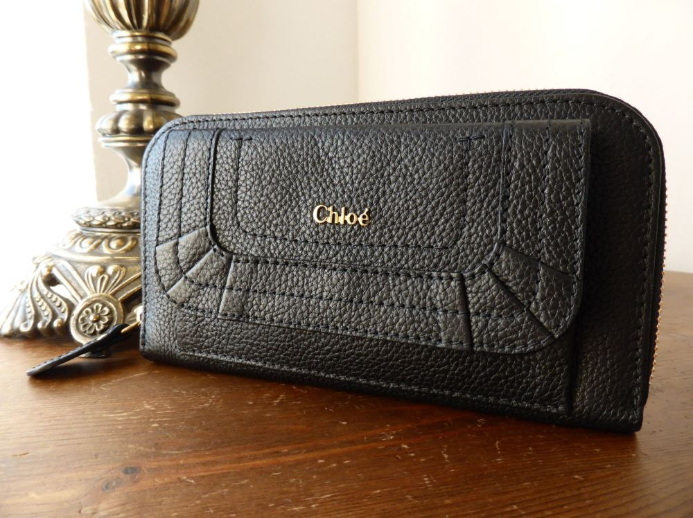 Chloe Paraty Zip Around Continental Wallet in Black Grained Calfskin